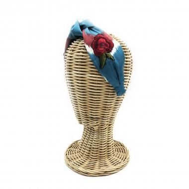Turbante Ikat azul rojo Frontal